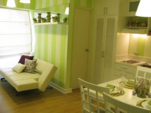gorgeous-and-lovely-twin-20-square-meter-apartments-for-small-apartment-interior-designs-with-green-wallpaper-with-strip-also-white-dining-set-and-m